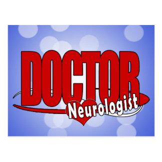 DOCTOR ROJO GRANDE DEL LOGOTIPO DEL NEURÓLOGO TARJETA POSTAL