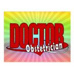 DOCTOR ROJO GRANDE DEL LOGOTIPO DEL OBSTÉTRICO POSTALES