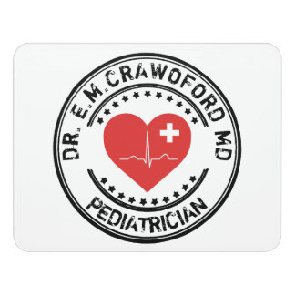 Doctor Rubber Stamp Heart ECG With Your Name Door Sign