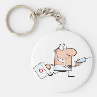 Doctor Running With A Syringe And Bag Keychain