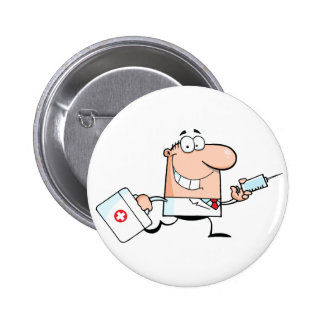 Doctor Running With A Syringe And Bag Pinback Button