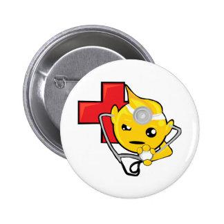 doctor smiley face pinback button