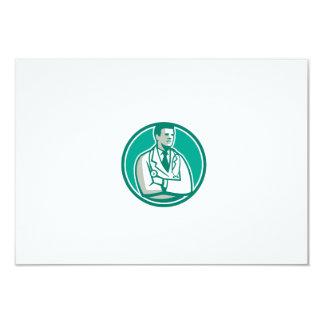 Doctor Stethoscope Standing Circle Retro 3.5x5 Paper Invitation Card