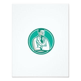 Doctor Stethoscope Standing Circle Retro 4.25x5.5 Paper Invitation Card