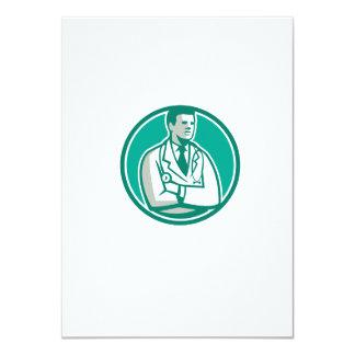 Doctor Stethoscope Standing Circle Retro 4.5x6.25 Paper Invitation Card