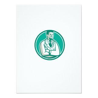 Doctor Stethoscope Standing Circle Retro 5.5x7.5 Paper Invitation Card