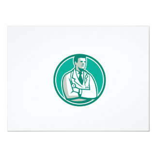 Doctor Stethoscope Standing Circle Retro 6.5x8.75 Paper Invitation Card