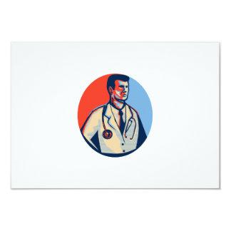 Doctor Stethoscope Standing Retro 3.5x5 Paper Invitation Card