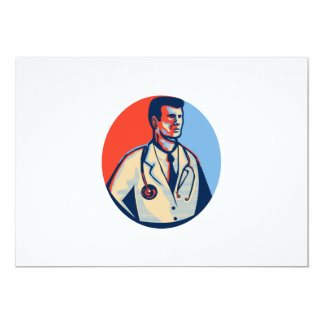 Doctor Stethoscope Standing Retro 5x7 Paper Invitation Card