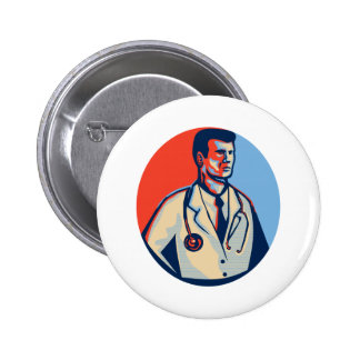 Doctor Stethoscope Standing Retro Pinback Buttons