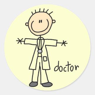 Doctor Stick Figure Classic Round Sticker