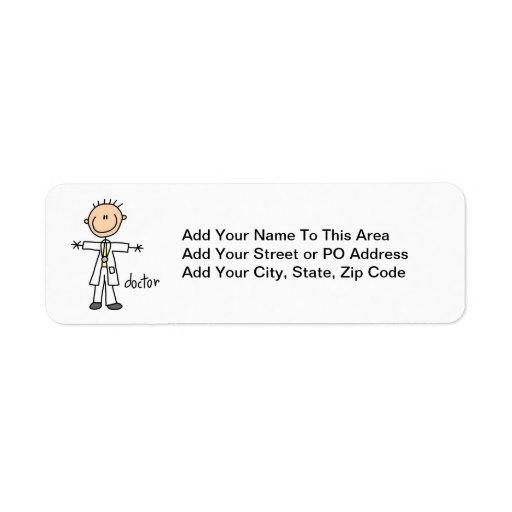 Doctor Stick Figure Custom Return Address Labels