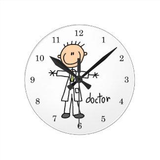 Doctor Stick Figure Round Clock