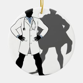 Doctor Super Hero Silhouette Ceramic Ornament