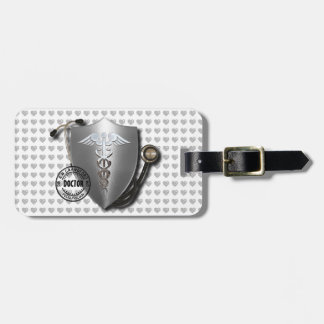 Doctor Symbols Caduceus On Stethoscope And Stamp Bag Tag