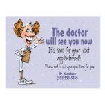 Doctor/tarjeta médica del recordatorio de la cita postales