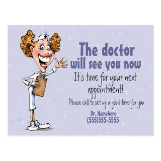 Doctor/tarjeta médica del recordatorio de la cita tarjeta postal