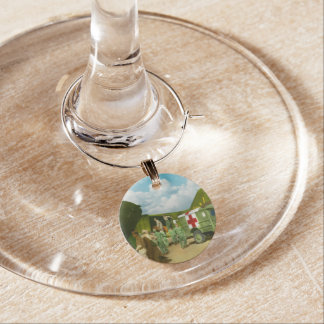 Doctor  - Transferring the wounded Wine Glass Charms