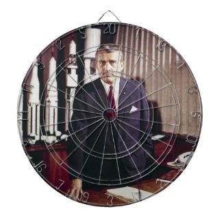 Doctor Wernher von Braun Portrait Dartboard With Darts