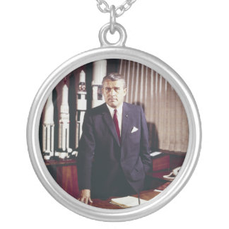 Doctor Wernher von Braun Portrait Silver Plated Necklace