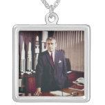 Doctor Wernher von Braun Portrait Square Pendant Necklace