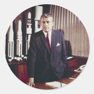 Doctor Wernher von Braun Portrait Classic Round Sticker