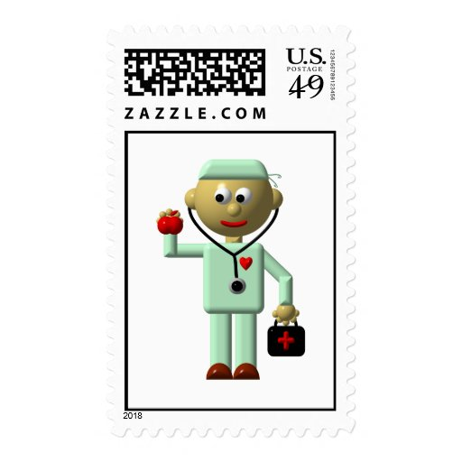 Doctor with Apple and Medical Bag Postage Stamp