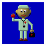 Doctor with Apple and Medical Bag Print