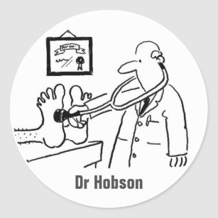 hospital surgeon stickers sticker designs zazzle Surgical Tech Salary doctor with stethoscope checking feet classic round sticker