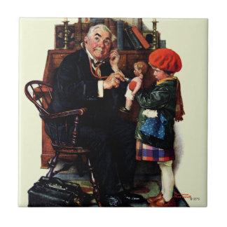 Doctor y la muñeca azulejo cuadrado pequeño