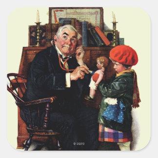 Doctor y la muñeca pegatina cuadrada