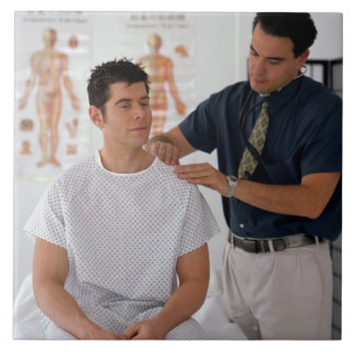 Doctor y paciente azulejo cerámica
