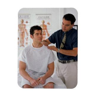 Doctor y paciente imán rectangular