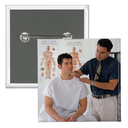 Doctor y paciente pin cuadrado