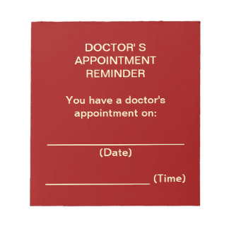 Doctor's Appointment Reminder Notepad