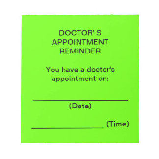 Doctor's Appointment Reminder Notes (Bright Green)