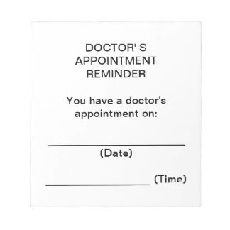 Doctor's Appointment Reminder Notes Notepad