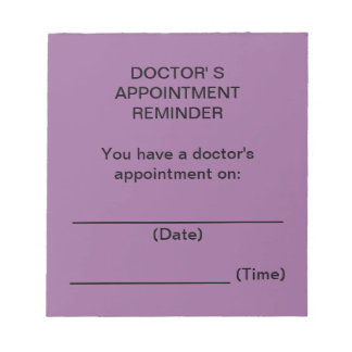 Doctor's Appointment Reminder Notes (Purple) Note Pads