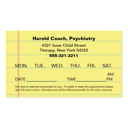doctor u0026 39 s office appointment card double