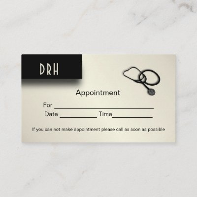 Doctors Office Appointment on Back Business Card
