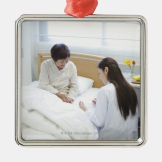 Doctor's rounds square metal christmas ornament