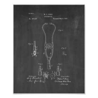 Doctor's Stethoscope Patent - Chalkboard Poster