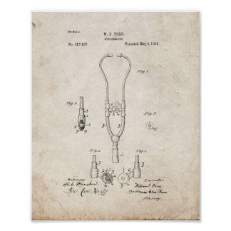 Doctor's Stethoscope Patent - Old Look Poster
