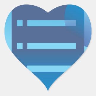 Document List Blue Button Icon Heart Sticker