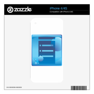 Document List Blue Button Icon Decal For The iPhone 4S