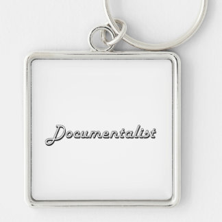 Documentalist Classic Job Design Silver-Colored Square Keychain
