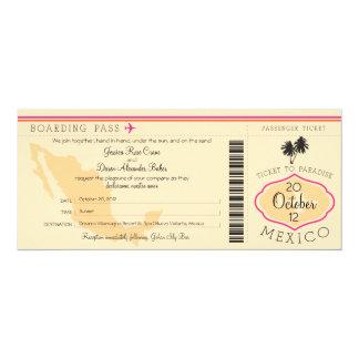 Documento de embarque a la invitación del boda de