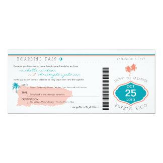 """Documento de embarque al boda de Puerto Rico Invitación 4"""" X 9.25"""""""