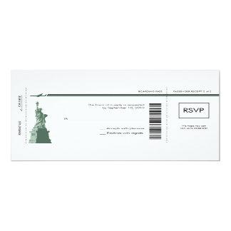 """Documento de embarque de Nueva York que casa RSVP Invitación 4"""" X 9.25"""""""