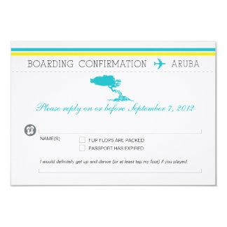 Documento de embarque de RSVP a Aruba Invitación 8,9 X 12,7 Cm